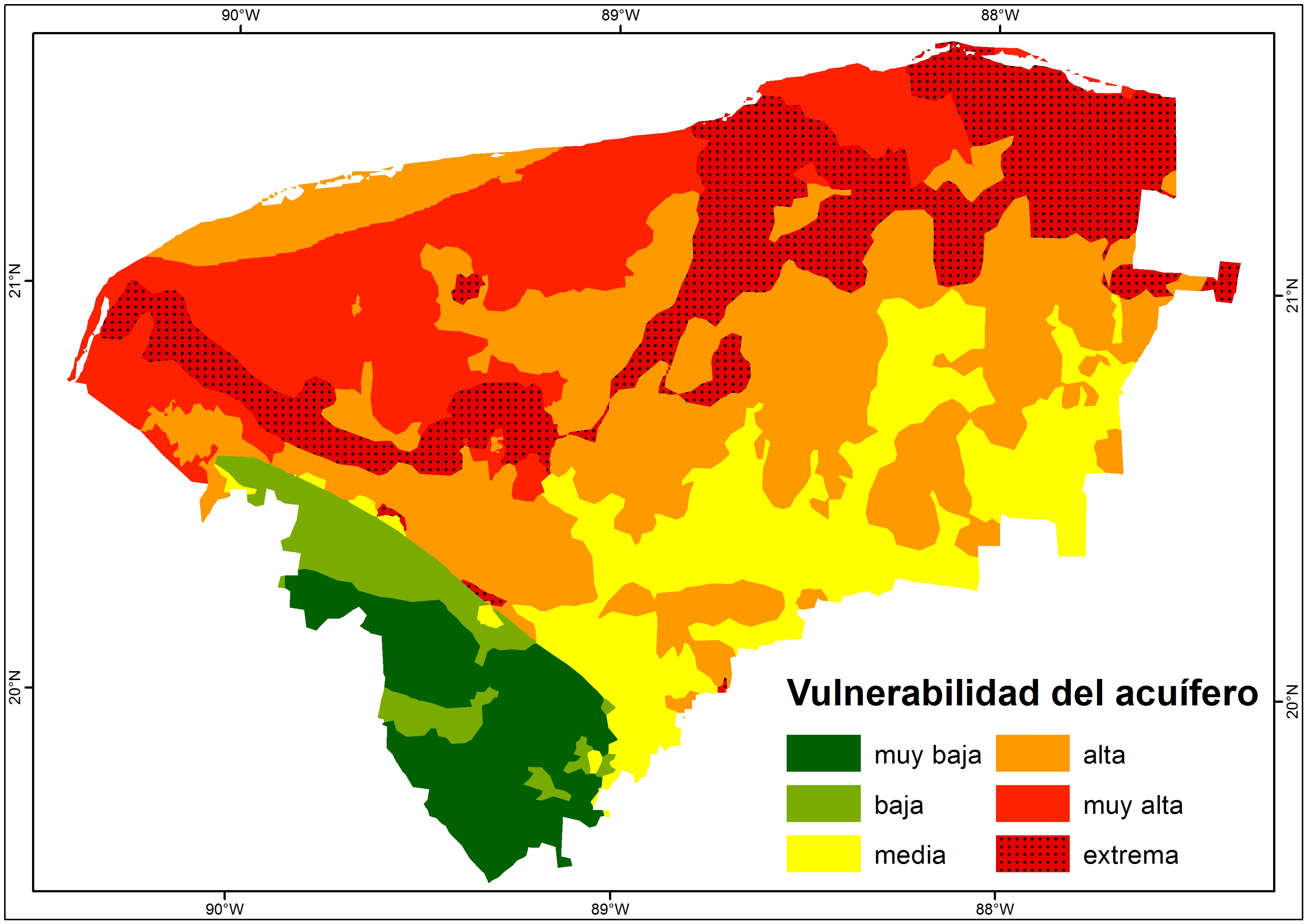 IVAKY: Index of vulnerability to pollution of yucatecan karstic aquifer